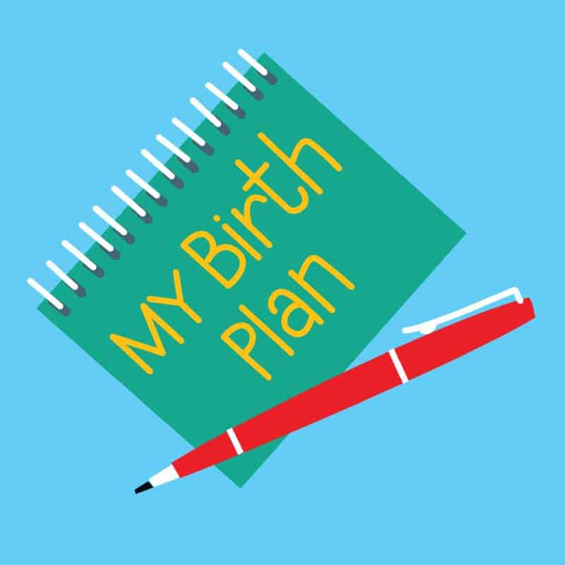 Illustration of a birth plan note and red pen