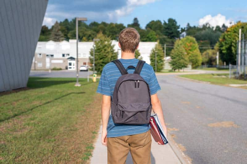 Male teenager with his back turned to the camera and walking towards a school. He is wearing a backpack and carrying some binders