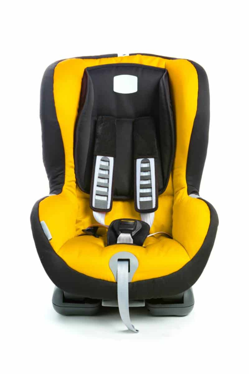 Black and yellow car seat isolated on white background