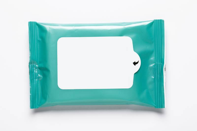 Wet wipes white and blue package, blank mock up