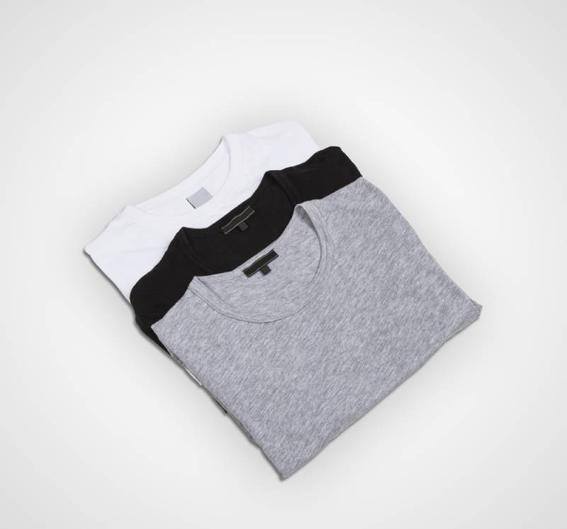 Pack of three T-shirts for men, white, grey and black