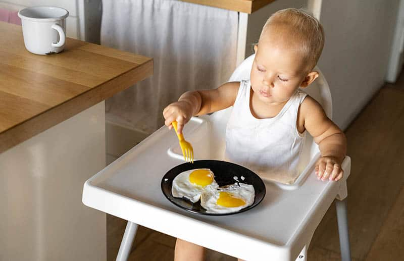 Toddler eating eggs