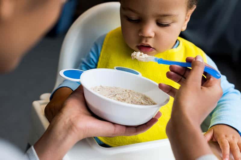 baby having feeding therapy