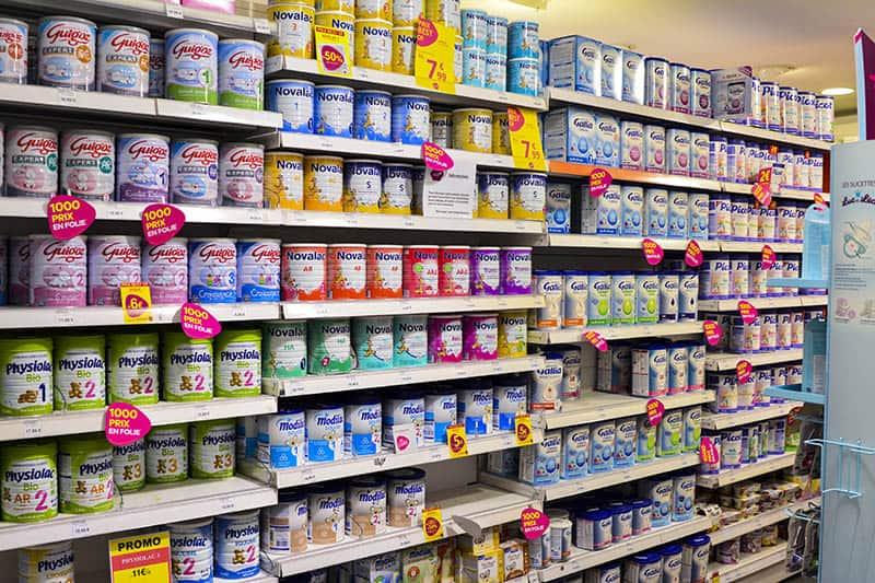 baby formulas on a shelf