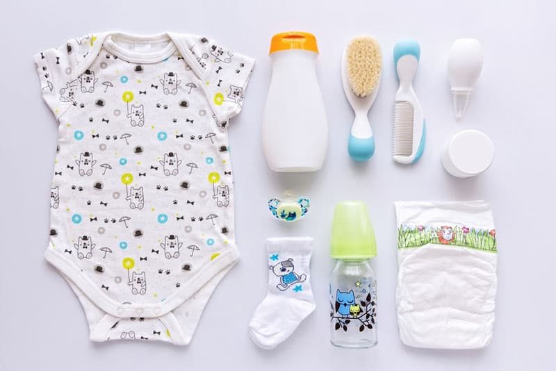 baby items on white background
