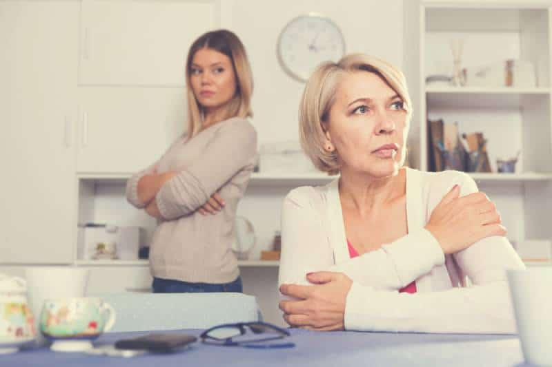 Adult daughter quarreled with her mom at home