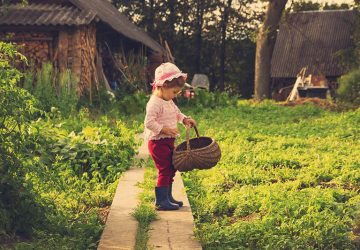 vintage portrait of Cute kid with big basket