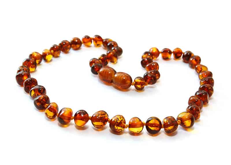 Amber Teething Necklace with white background