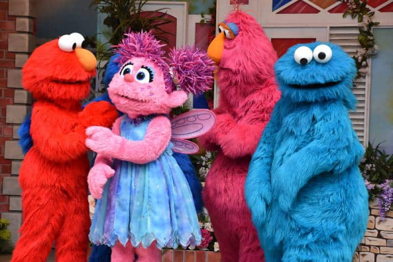 Sesame street characters outdoors