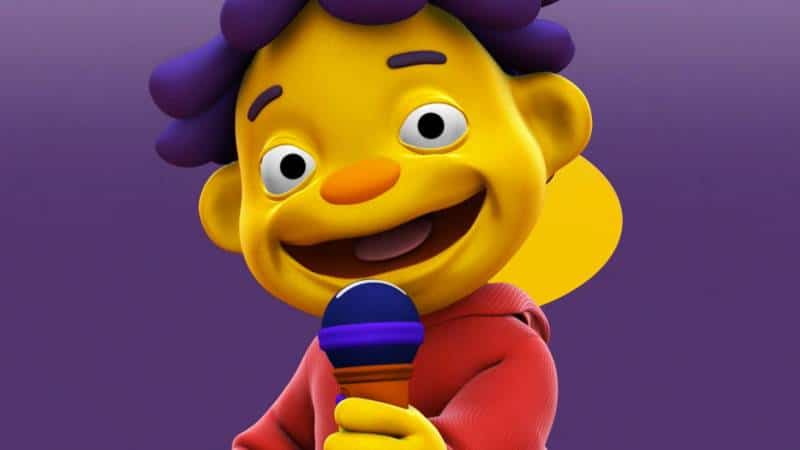 Sid the science kid character on purple background