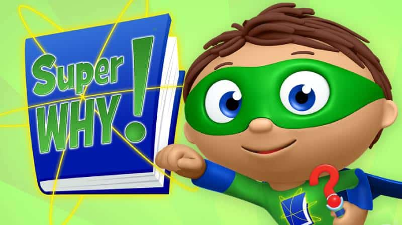 Super why character on green background