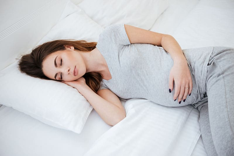 beautiful pregnant woman sleeping