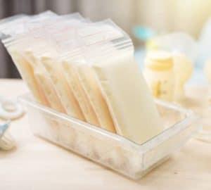 Breast milk frozen in plastic storage bags for baby