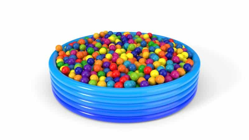 plastic balls filled blue child pool