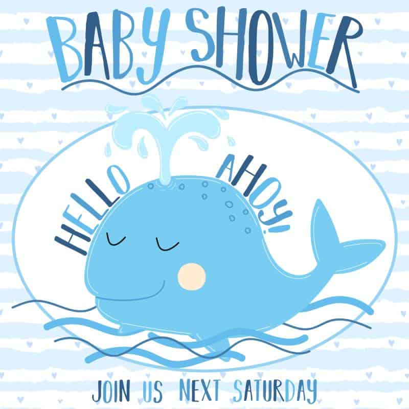 baby shower ocean theme with a whale
