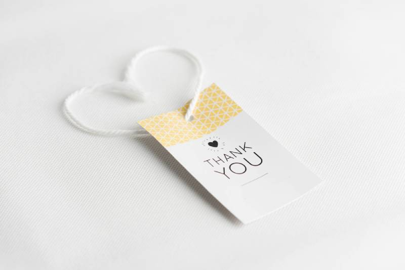 yellow and white thank you card