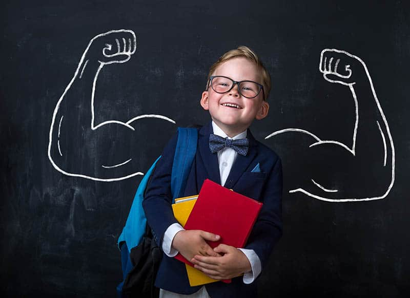Young kid motivated in education