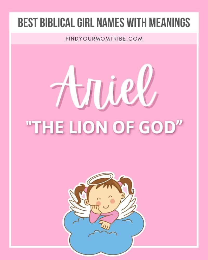 Illustrated female name Ariel with meaning