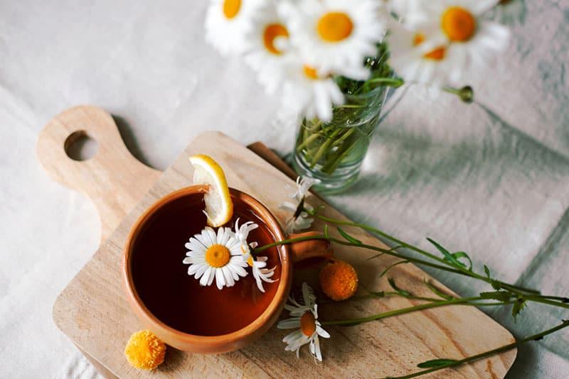 chamomile tea on the tablecloth