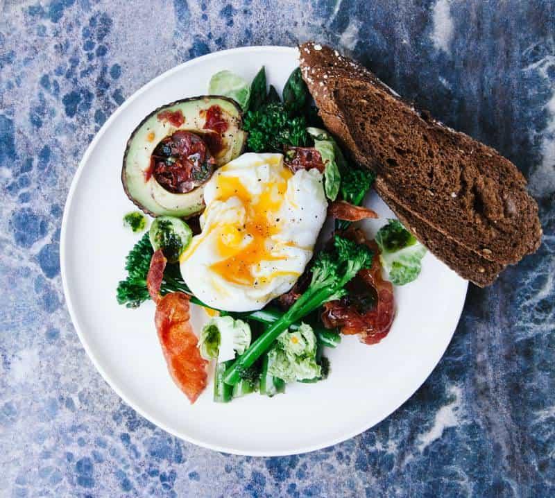 food on plate on blue table