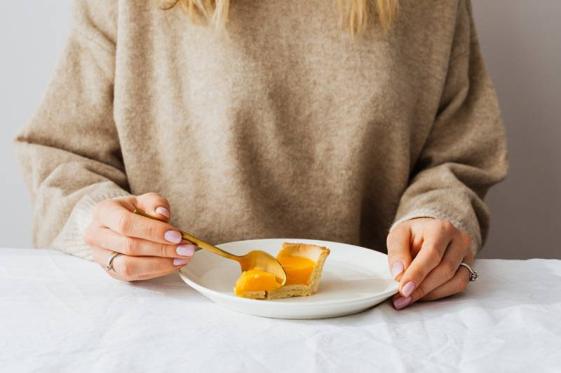 woman eating at the table