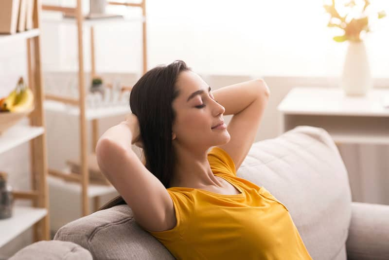young woman relaxing on the couch