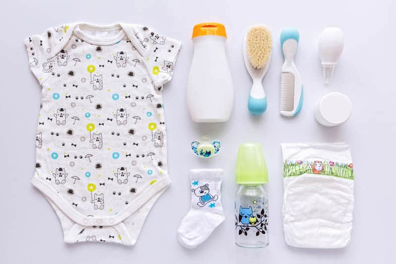 a lot of baby items on white background