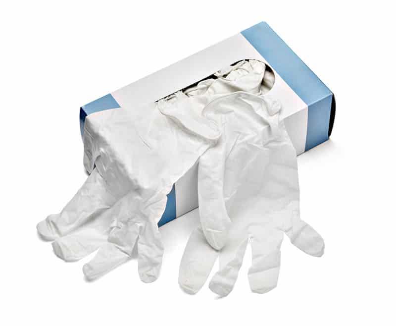 box of white latex gloves