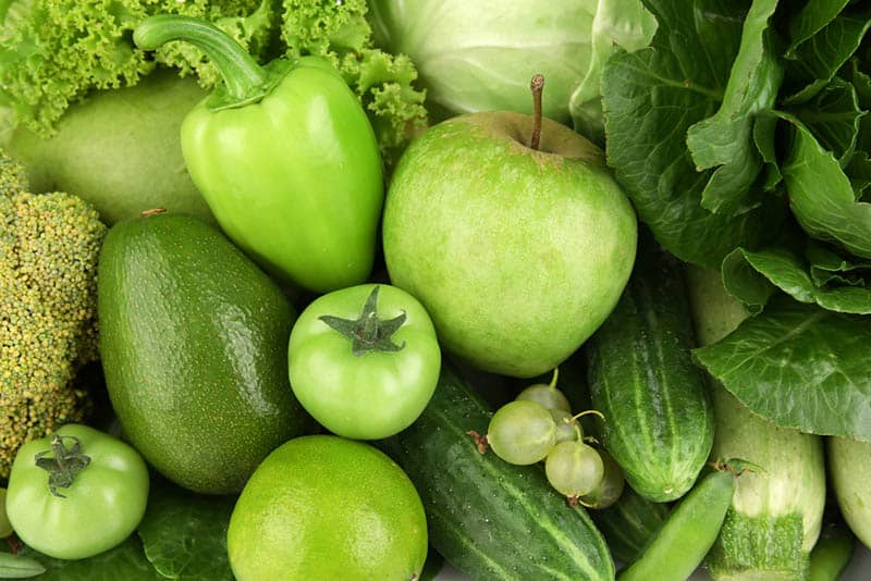 fresh green vegetables and fuits