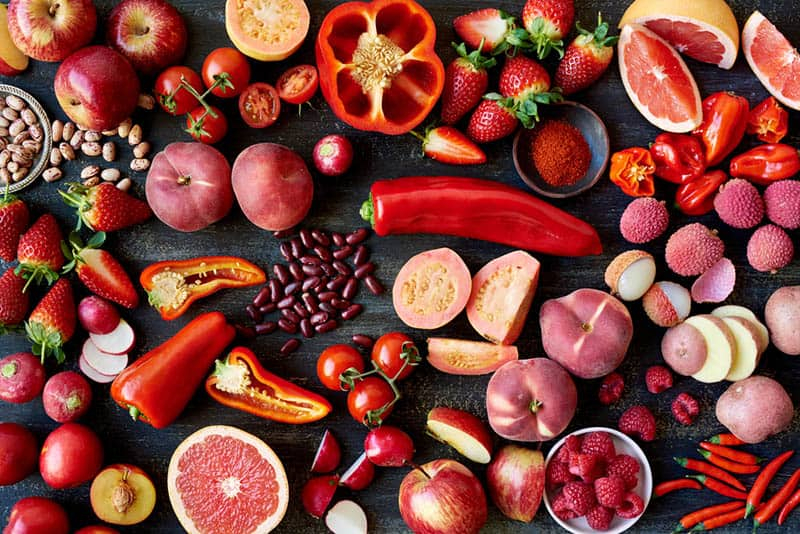 fresh vegetables and fruits in red color