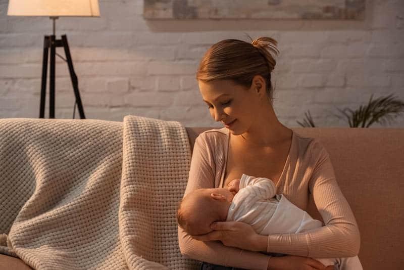 happy mother breastfeeding her baby