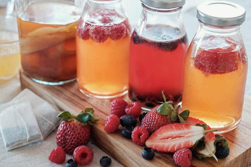 kombucha juices in the bottles with fruites