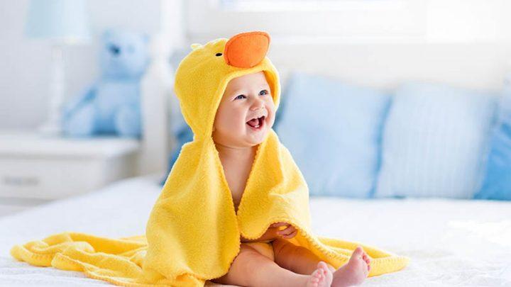 cute little boy in the towel