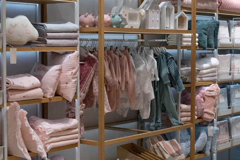 store shelves with baby clothes and items