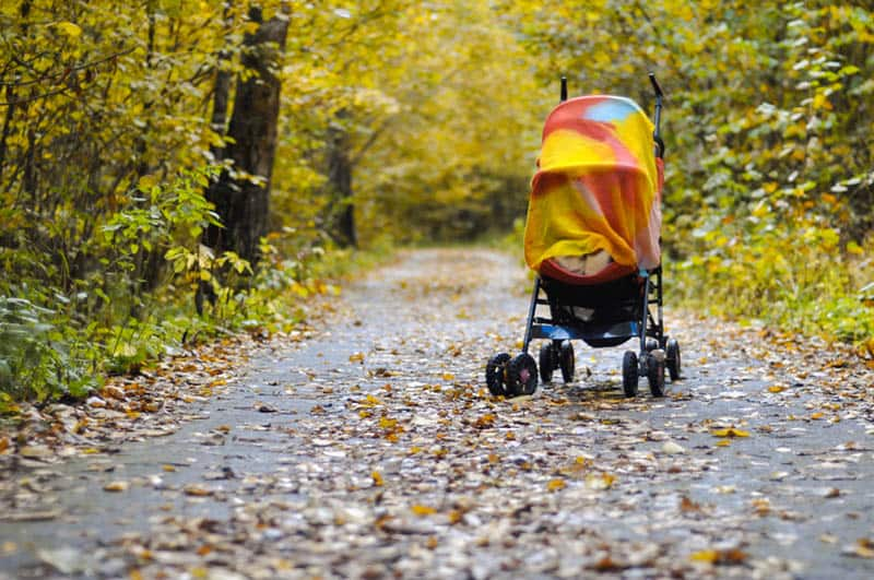 stroller with baby covered with blanket on the road