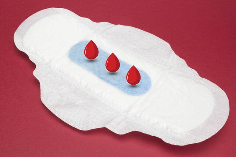 woman sanitary pad for hygiene absorbing blood illustration