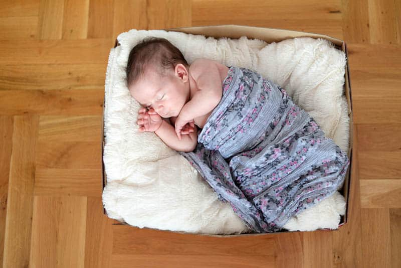 adorable newborn baby sleeping in a cardboard box as a bed