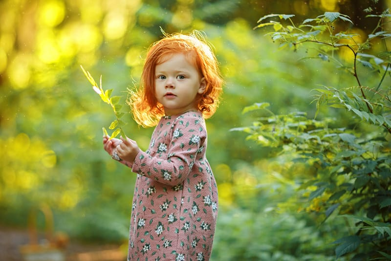 beautiful red haired little girl holsing a plant and posing outdoors