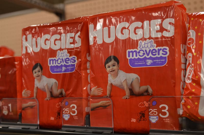 huggies diapers packages on the shell in store