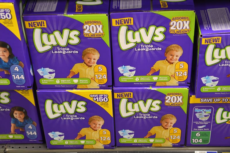 luvs diapers packages on the shell in store