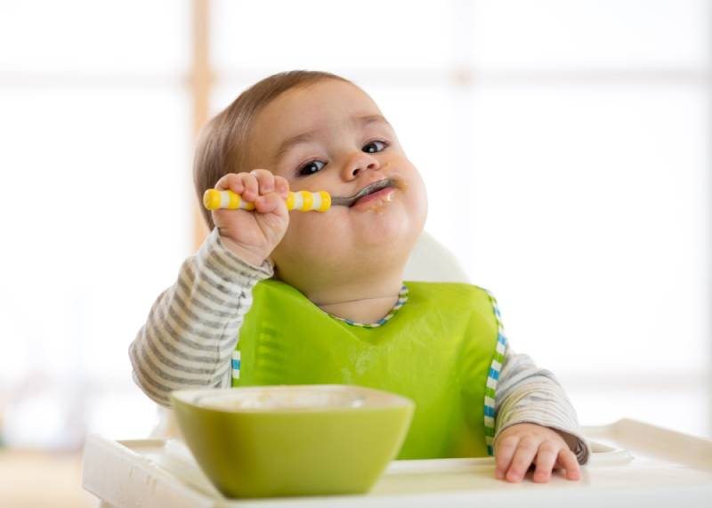 adorable baby sitting in high chair and eating with spoon