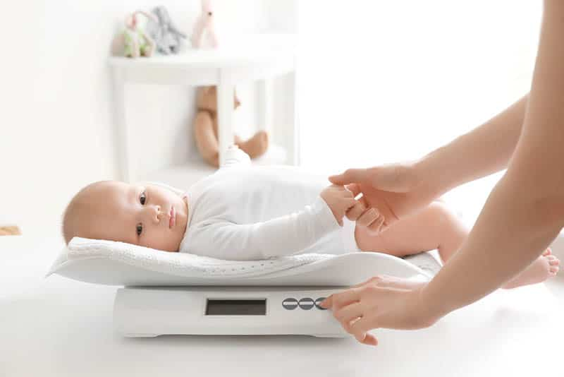 young mother other weighing baby on scales in room
