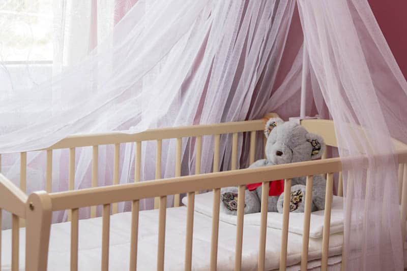 baby bassinet with toys and white canopy in bedroom