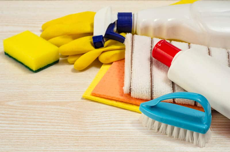 cleaning products on the wooden table