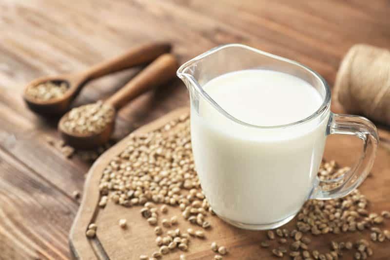 jug with healthy hemp milk on wooden board