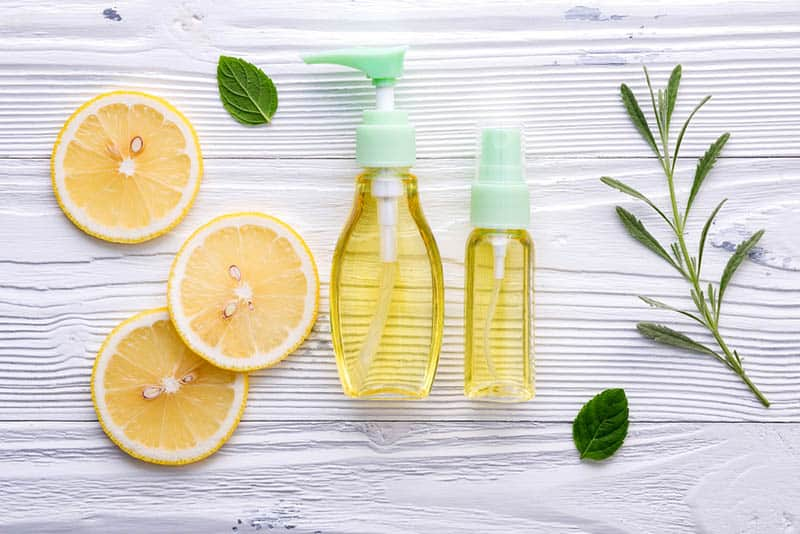 skin care ingredients with gel soaps in bottles on the table