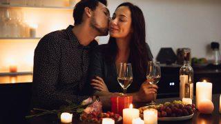 couple in love enjoying romantic dinner