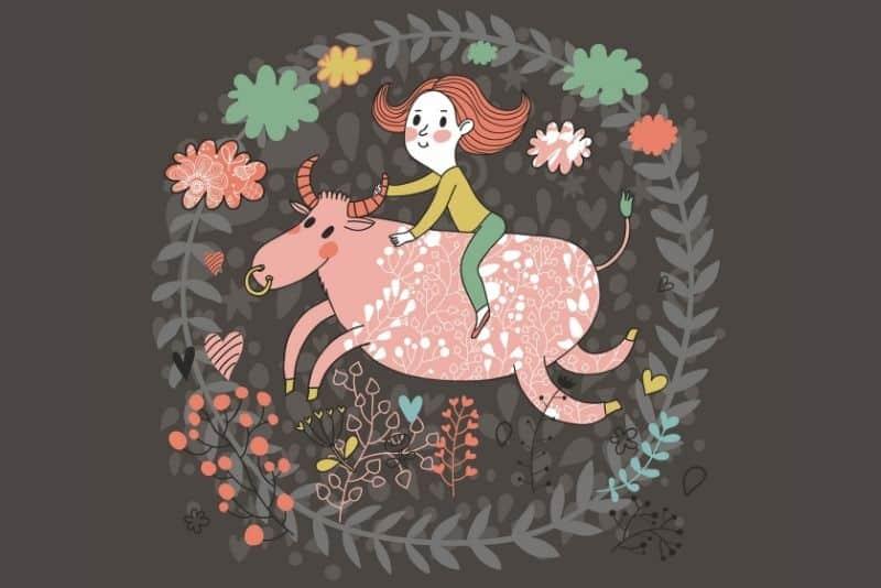 Taurus zodiac sign cute illustration