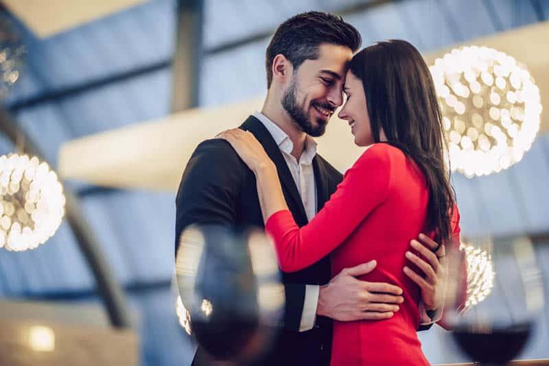 beautiful couple dancing in the restaurant