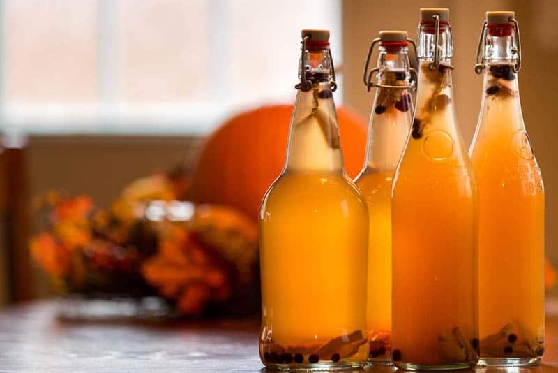 bottles of homebrew kombucha on the table